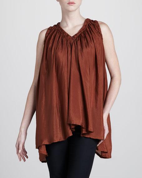Draped Sleeveless Silk Tunic