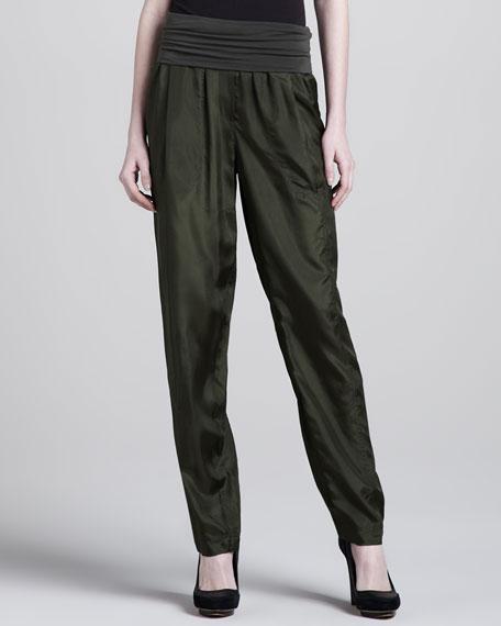 Jersey-Waist Silk Pants