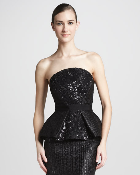 Sequined Peplum Bustier Top