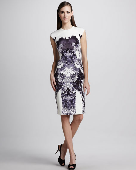 Crane-Print Sheath Dress