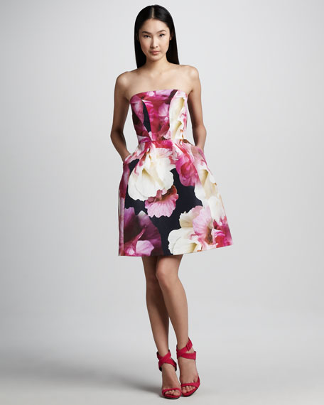 Floral-Print Structured Strapless Dress
