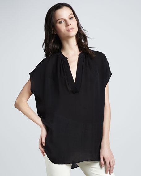 Cap-Sleeve Silk Popover