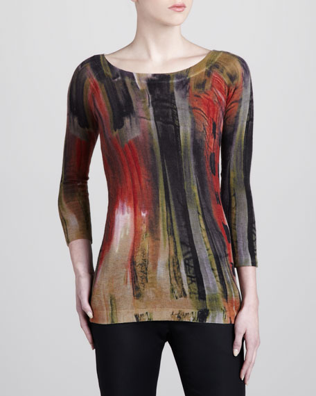 Printed Cashmere Top