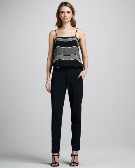 Strapping Straight-Leg Crepe Pants
