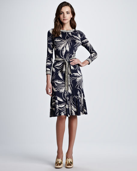 Claire Wheat-Print Dress