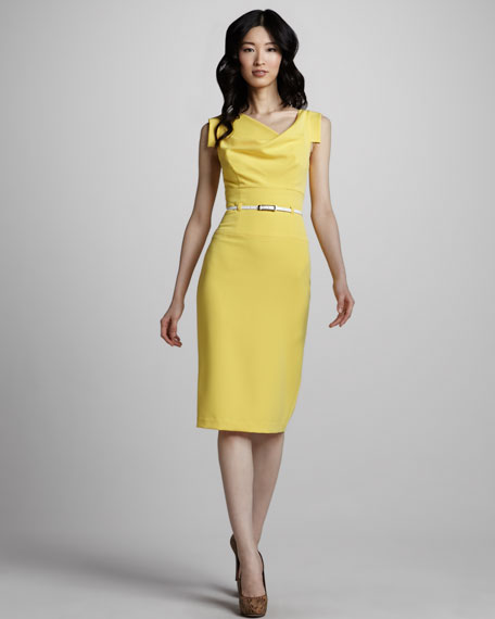 Jackie Belted Sheath Dress, Sunflower