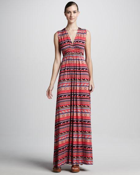 Long Granita Folk-Print Dress, Women's