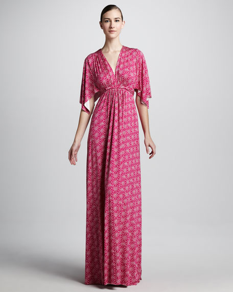 Starflower-Print Long Caftan Dress, Women's