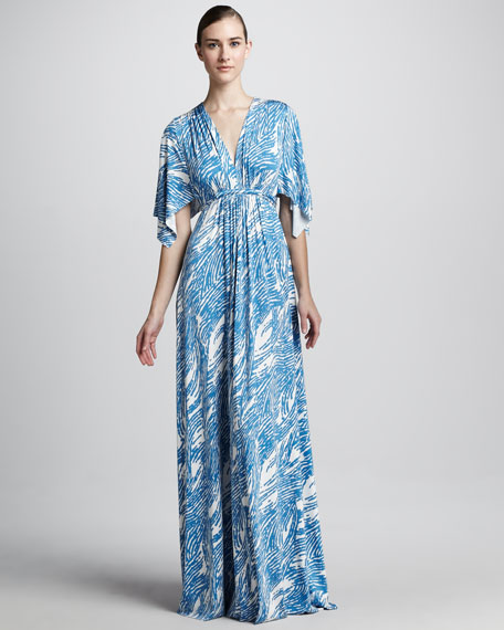 Mykonos Current Print Maxi Caftan Dress