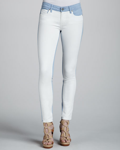 Emily Ultraskinny Colorblock Jeans, Cloud/White