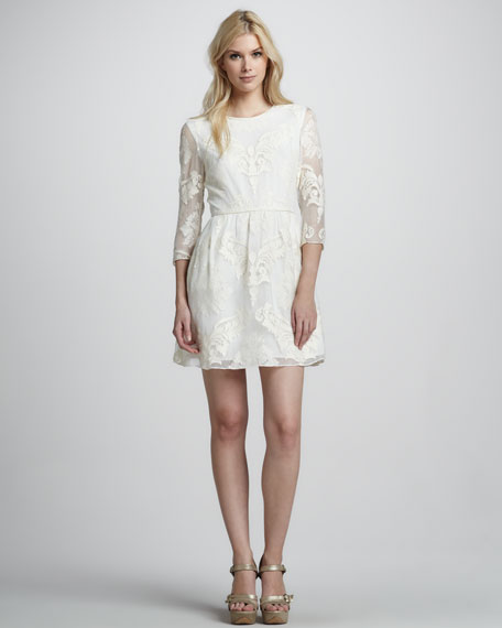 Embroidered 3/4-Sleeve Dress