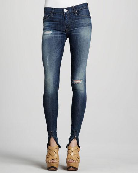 Juliette Youth Vintage Super-Skinny Ankle-Zip Jeans