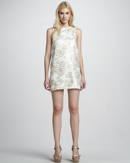 Sequin-Flower Shift Dress