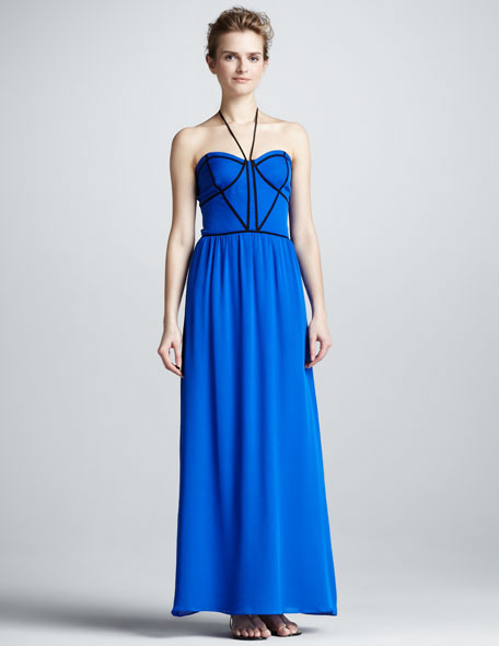 Contrast-Trim Maxi Dress