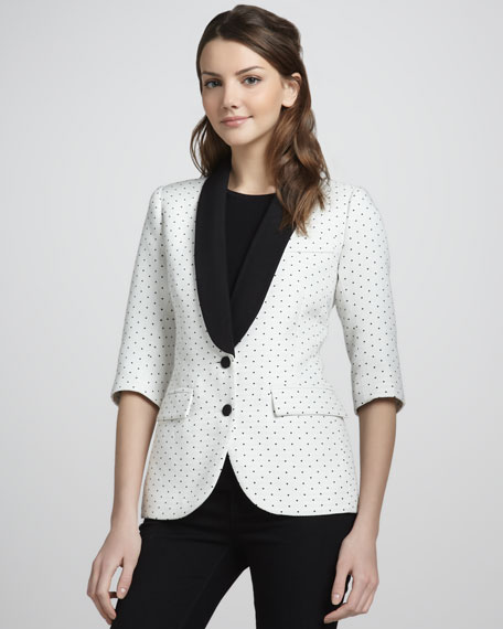 Pin-Dot Pique Half-Sleeve Blazer