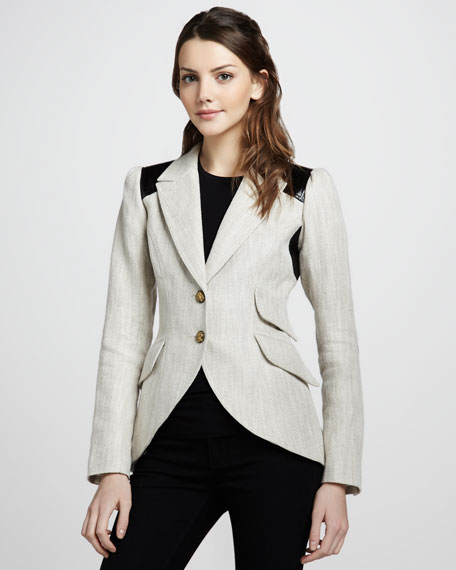 Equestrian Colorblock Elbow-Patch Blazer