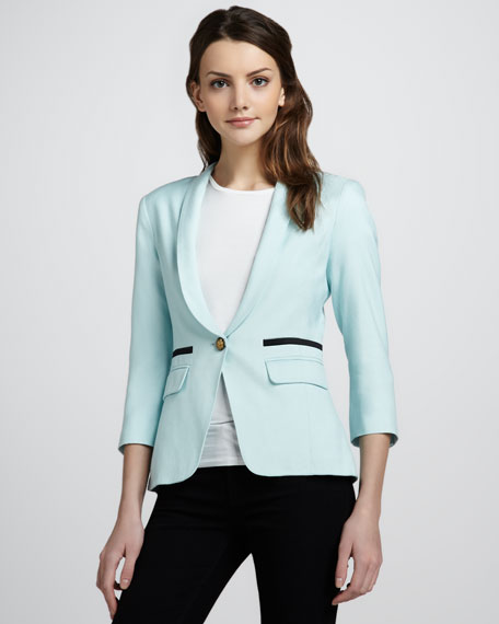Shawl-Collar One-Button Blazer