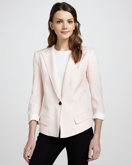 Sharp-Shoulder One-Button Blazer