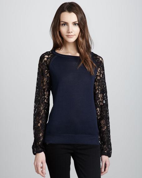 Avani Lace Silk-Blend Top