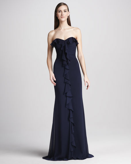 Strapless Ruffle-Front Gown, Navy