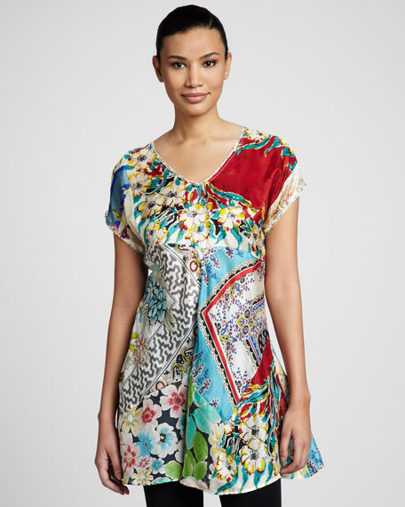 Patchwork-Print Tunic, Women's