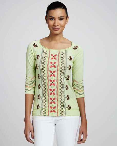 Tricia Embroidered Raglan-Sleeve Tee