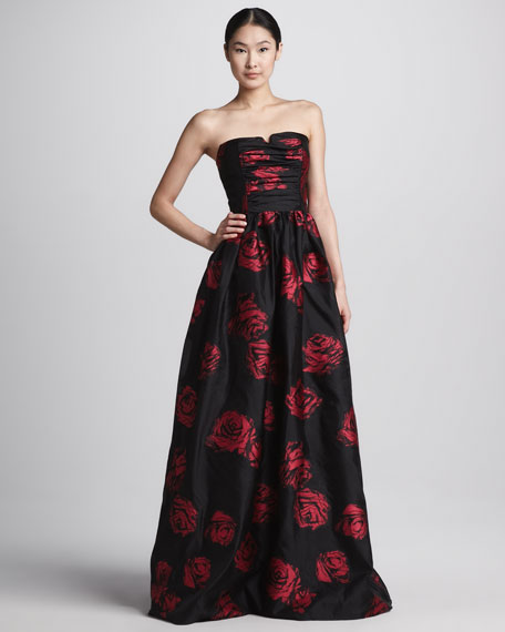 Rose-Print Strapless Ball Gown