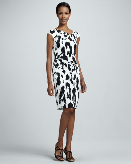 Leopard-Print Ruched Cocktail Dress