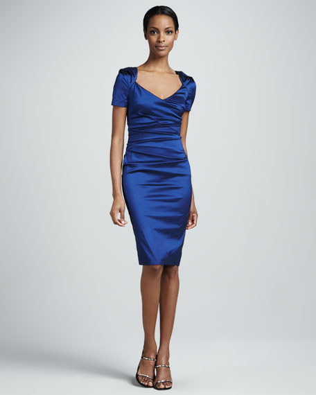 Ruched Short-Sleeve Cocktail Dress