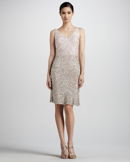 Gradient Sequined V-Neck Dress