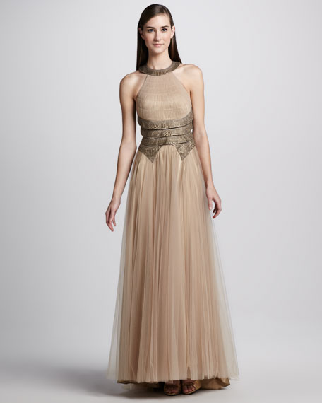 Tiered Tulle Halter Combo Gown
