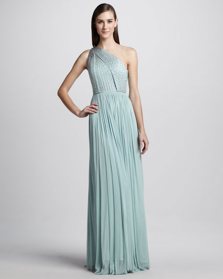 Beaded One-Shoulder Tulle Gown