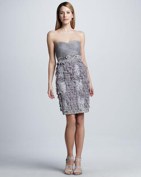 Petal-Skirt Strapless Cocktail Dress