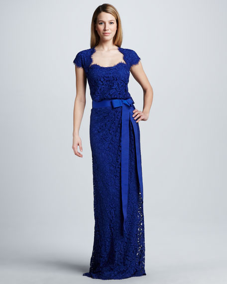 Belted Lace Cap-Sleeve Gown
