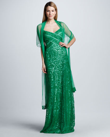 Lace Gown with Stole