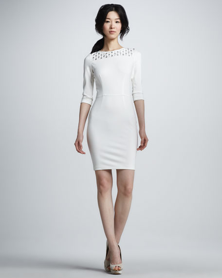 Stud-Top Ponte Day Dress