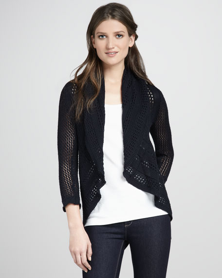 Draped Pointelle Cardigan, Navy Blue