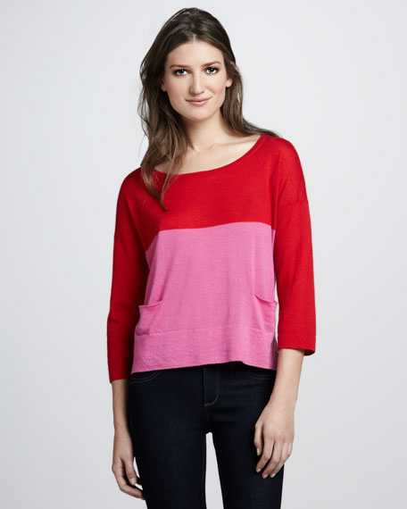 Colorblock Boxy Cashmere Sweater