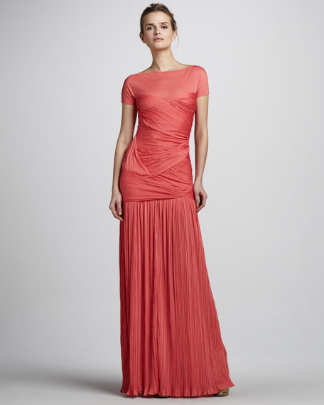 Short-Sleeve Plisse Gown with Sheer Yoke