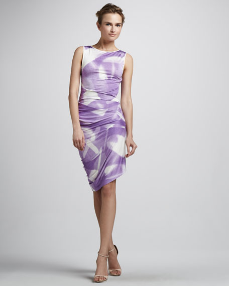 Sleeveless Dress with Asymmetric Hem