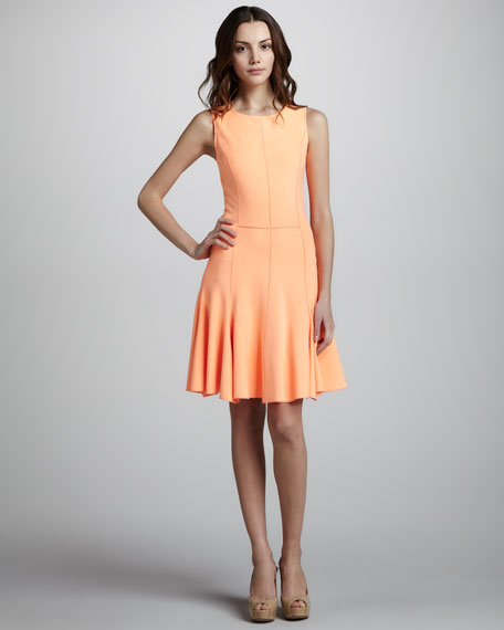 Ponte Knit Dress with Flared Skirt