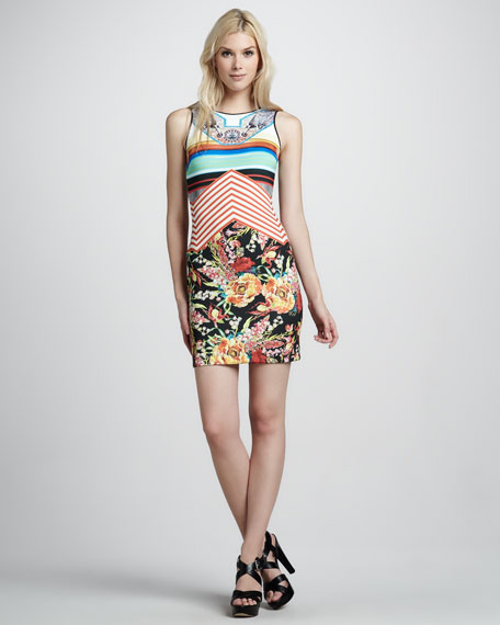 Mix-Print Fitted Dress