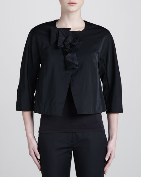 Collarless Jacket, Black