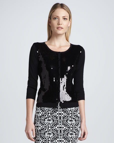 Sequined-Front Cardigan, Black