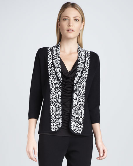 Floral-Pattern Shawl-Collar Jacket