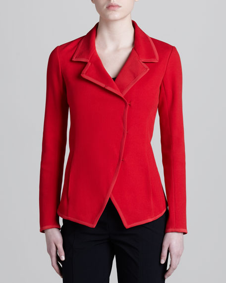 Convertible-Collar Knit Jacket