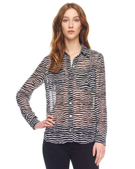 Sheer Zebra-Print Blouse