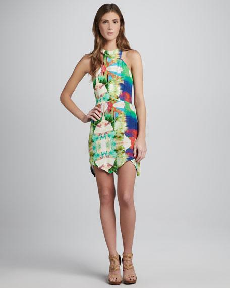 Printed Jagged-Hem Dress