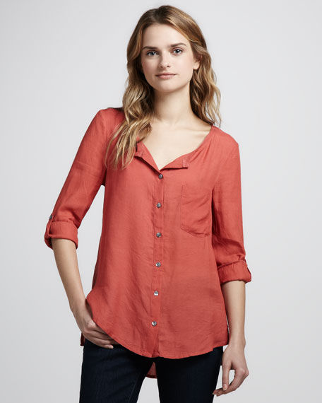 Soft joie kaeri gauze button down blouse for Gauze button down shirt