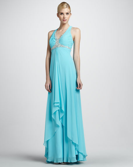 Sleeveless Beaded Hi-Low Gown